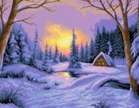 "Канва с нанесенным рисунком ""Зима в деревне"" (арт. А-1304)"