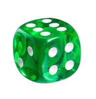 """Кубик D6 """"Прозрачный"""" (зеленый)"""