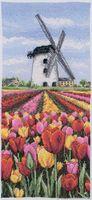 """Вышивка крестом """"Тюльпаны у мельницы"""" (140х320 мм)"""