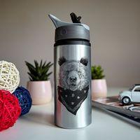 """Бутылка для воды """"Медведь в платке"""" (600 мл; металлик)"""