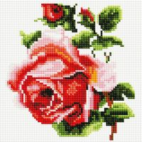 """Алмазная вышивка-мозаика """"Изящная роза"""" (200х200 мм)"""