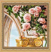"Алмазная вышивка-мозаика ""Арка и розы"" (300х300 мм)"