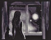 """Вышивка крестом """"Луна в окне"""" (300х240 мм)"""