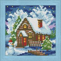 "Алмазная вышивка-мозаика ""Зимний домик"" (150х150 мм)"