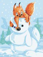 "Картина по номерам ""Белка и снеговик"" (300х400 мм)"