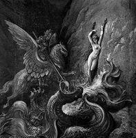 """Картина из песка """"Битва с драконом"""" (210х290 мм)"""