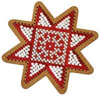"""Вышивка крестом """"Новогодняя игрушка. Рождественская звезда"""" (75х75 мм)"""