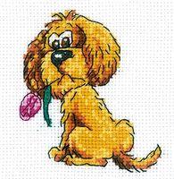 """Вышивка крестом """"Собачка с цветочком"""" (100x100 мм)"""