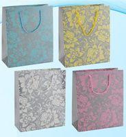 """Пакет бумажный подарочный """"Цветы на сером фоне"""" (в ассортименте; 32x26x12 см; арт. МС-3057)"""
