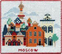 """Вышивка крестом """"Москва"""" (90х80 мм; на магните)"""