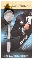 """Ложка чайная металлическая на открытке """"Артем"""" (137 мм)"""