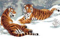 "Канва с нанесенным рисунком ""Два тигра"""