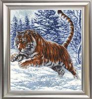 """Вышивка крестом """"Прыжок тигра"""" (400х352 мм)"""