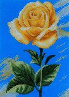 "Вышивка крестом ""Желтая роза на синем"" (200х280 мм)"