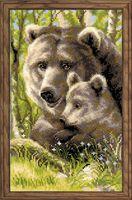 "Вышивка крестом ""Медведица с медвежонком"" (220х380 мм)"