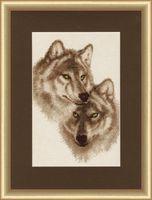 """Вышивка крестом """"Влюбленные волки"""" (304х192 мм)"""