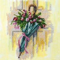"""Вышивка бисером """"Зонтик и тюльпаны"""" (200х200 мм)"""