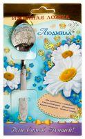 """Ложка чайная металлическая на открытке """"Людмила"""" (137 мм)"""