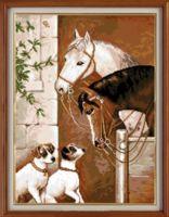 """Вышивка крестом """"Лошади и собаки"""" (260х360 мм)"""
