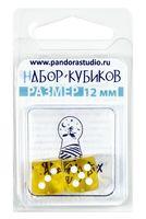 """Набор кубиков D6 """"Прозрачный"""" (12 мм; 2 шт.; желтый)"""