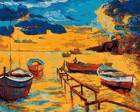 """Картина по номерам """"Пейзаж с лодками"""" (400х500 мм)"""