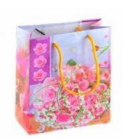 """Пакет бумажный подарочный """"Цветы"""" (в ассортименте; 16х18х8 см; арт. МС-1517)"""