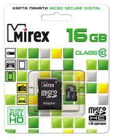 Карта памяти micro SD 16Gb Mirex Class 10 (с адаптером)