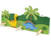 """Вешалка настенная деревянная """"Динозавры"""" (3 крючка; 33х15 см)"""