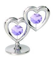 "Миниатюра ""Два Сердца"" (с сиреневыми кристаллами)"