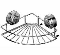 Полка для ванной угловая металлическая на присосках (249х249х94 мм)