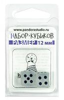 """Набор кубиков D6 """"Изморозь"""" (12 мм; 2 шт.; бело-черный)"""