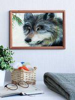 """Картина из шерсти """"Волк"""" (200х300 мм)"""