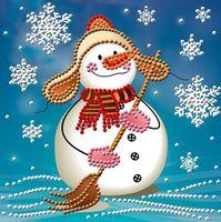 """Алмазная вышивка-мозаика """"Снеговик с метлой"""""""