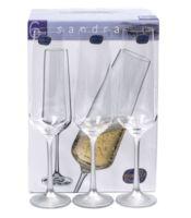 """Бокал для шампанского стеклянный """"Sandra"""" (6 шт.; 200 мл; арт. 40728/382857/200)"""