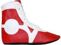 Обувь для самбо SM-0102 (р.38; кожа; красная)