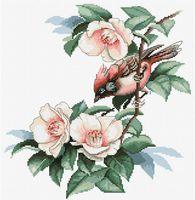 """Вышивка крестом """"Птичка в цветах"""" (220х230 мм)"""