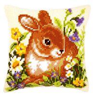 """Вышивка крестом """"Подушка. Кролик в саду"""" (400х400 мм)"""