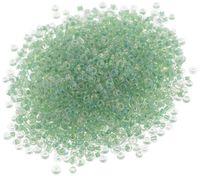 Бисер с цветным центром №212 (прозрачный/зеленый, радужный; 11/0)