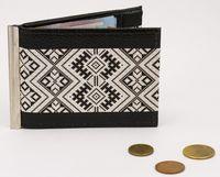 """Зажим для денег с монетницей """"Черный орнамент"""""""
