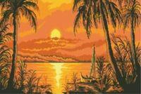 """Канва с нанесенным рисунком """"Пальмы на закате"""""""