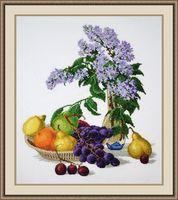 """Вышивка крестом """"Сирень и фрукты"""" (320х370 мм)"""