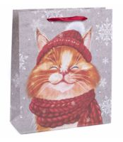 "Пакет бумажный подарочный ""Снежный кот"" (23х27х8 см)"