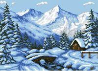 """Канва с нанесенным рисунком """"Зима в горах"""""""