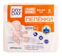 "Пелёнки одноразовые детские ""DryDay"" (5 шт.; 600х400 мм)"