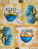 """Бумага для декупажа рисовая """"Гортензии и лимоны"""" (290х210 мм)"""