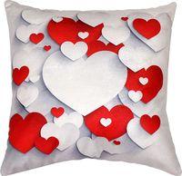 """Подушка """"Белые и красные сердца"""" (35x35 см; арт. 08-828)"""