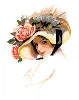 """Вышивка крестом """"Дама в шляпе"""" (450x330 мм)"""