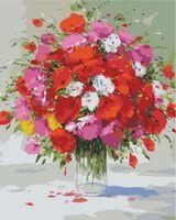 """Картина по номерам """"Герхард Несвадб. Красно-белый букет"""" (500х400 мм)"""