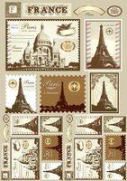 """Бумага для декупажа рисовая """"Почтовые марки. Франция"""" (290х210 мм)"""
