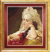 """Вышивка крестом """"Девушка в жемчужном ожерелье"""" (320х365 мм)"""